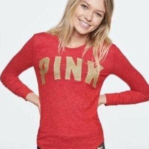 VS Pink Red Gold Logo Long Sleeve